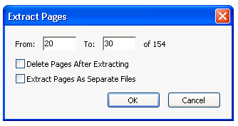 Extract pages command in acrobat