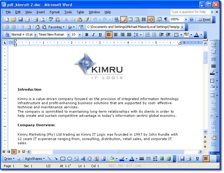 pdf to word converter java api
