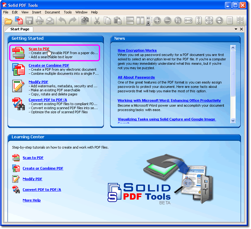 Scan in pdf software