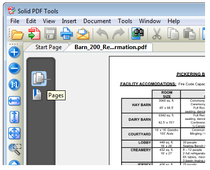 Select the 'Pages' pane to view the pages within the PDF document.