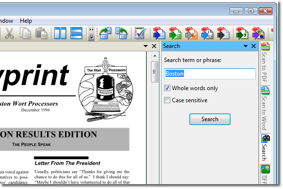 Search the PDF file