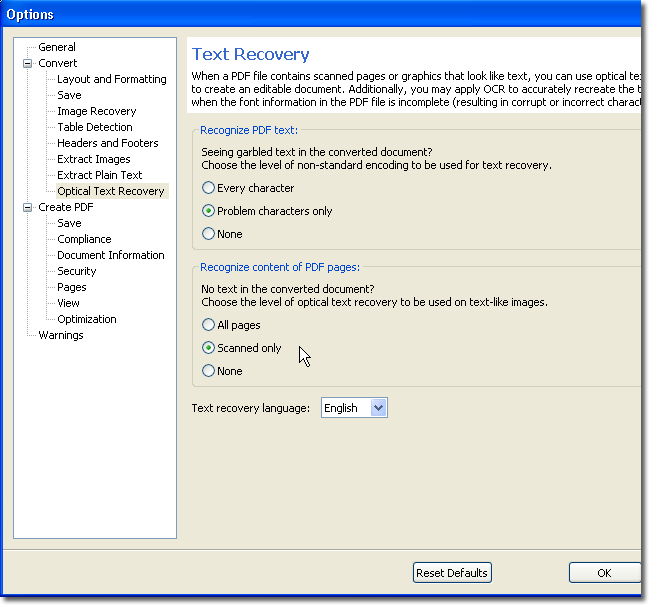Tools Options Dialog
